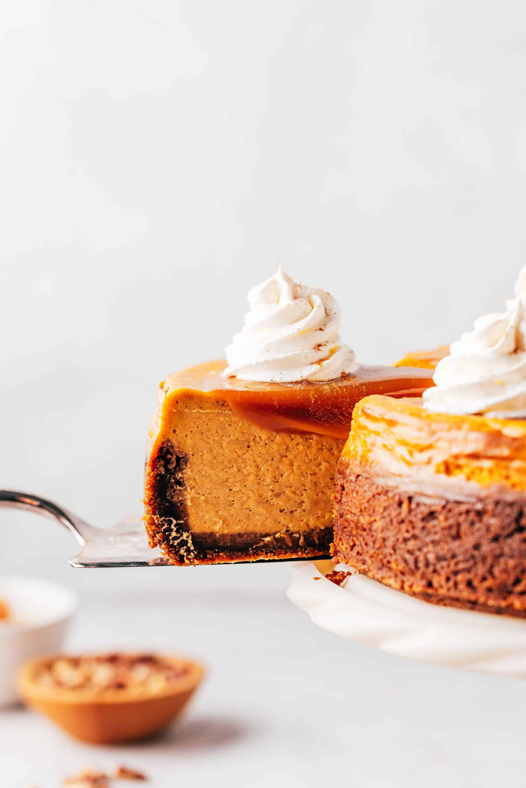 slice of pumpkin cheesecake with caramel