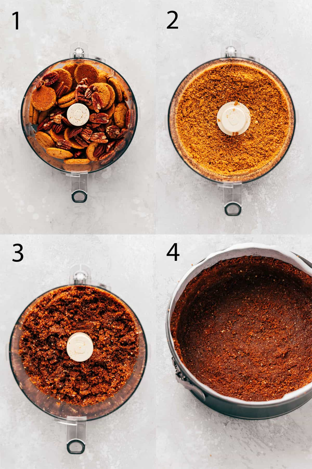 process shots for making gingersnap pecan crust for pumpkin cheesecake