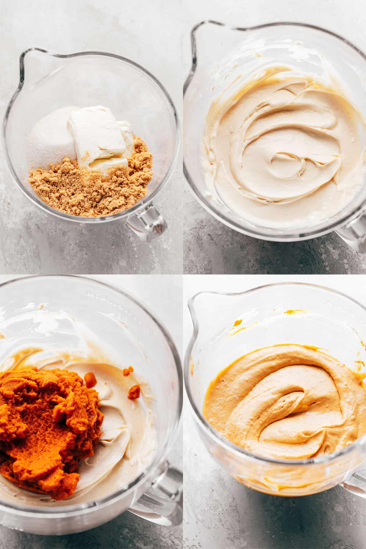 process shots for pumpkin cheesecake batter in a glass mixing bowl