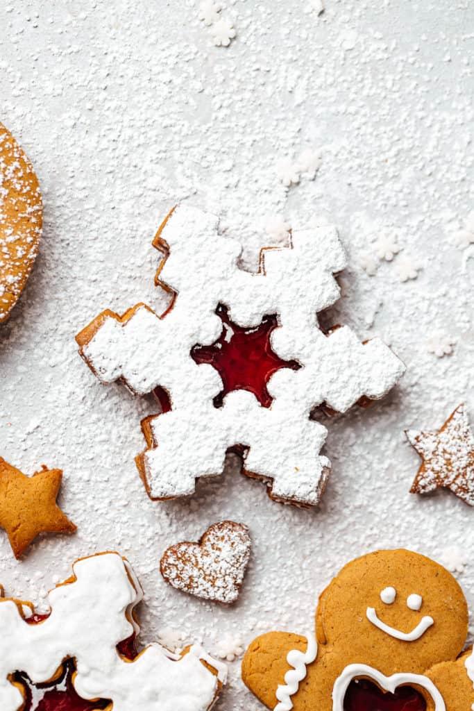 snowflake linzer cookie