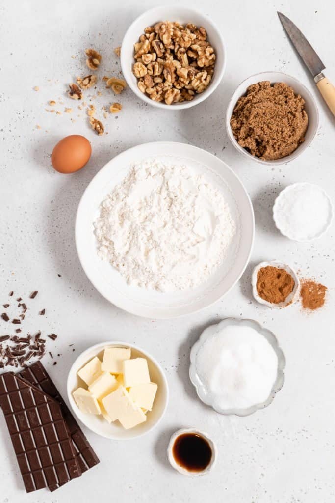 Ingredients for chocolate chip walnut cookies