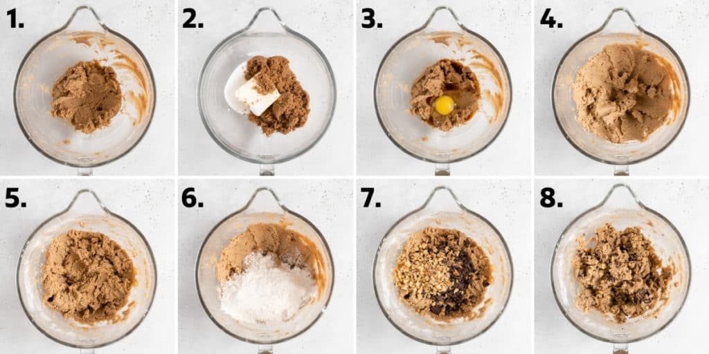 step by step directions to make chocolate chip walnut cookies