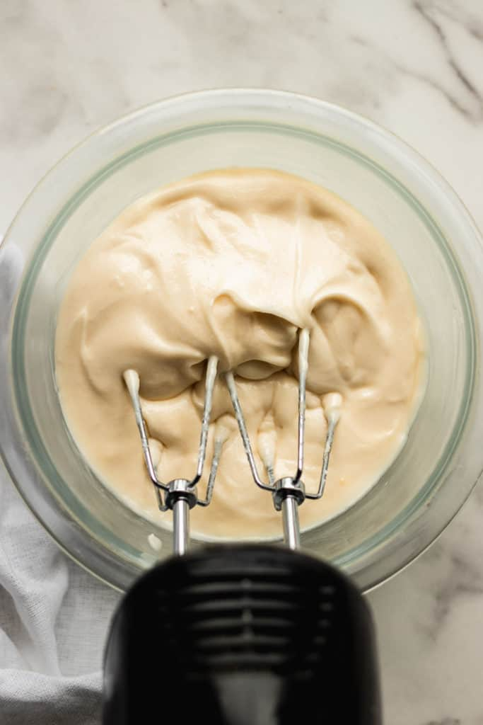 cream cheese frosting a bowl