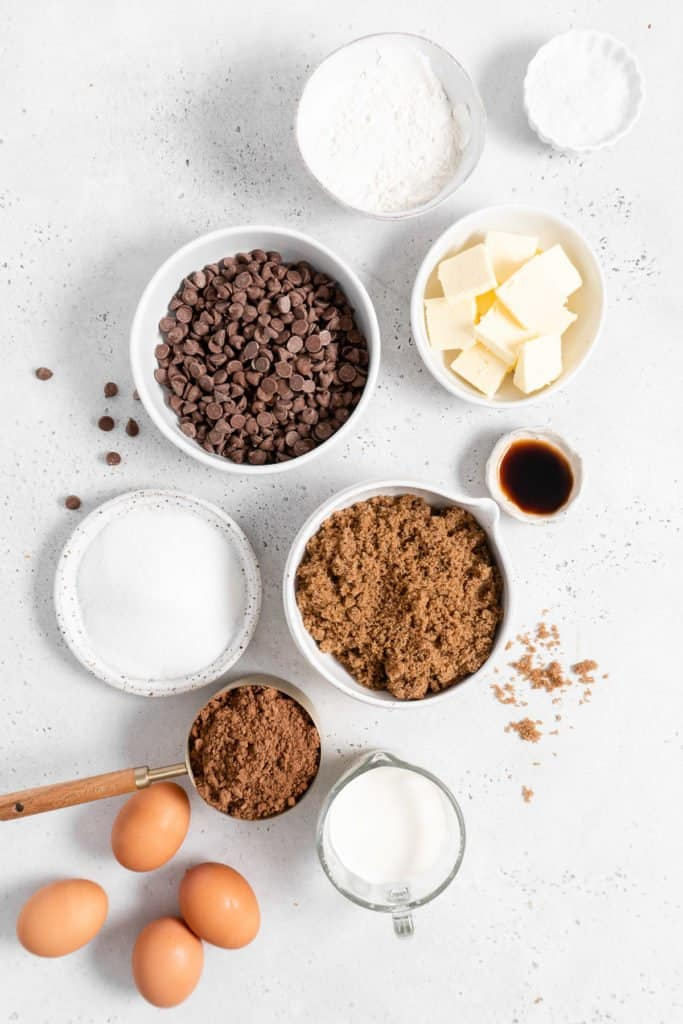 ingredients for fudge brownies with ganache