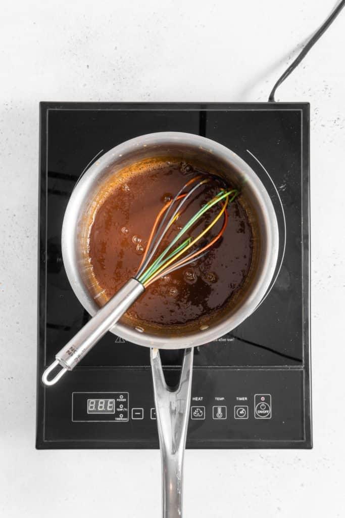 salted caramel in saucepan