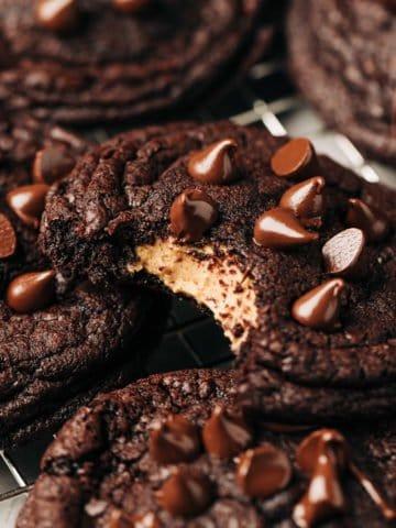 peanut butter stuffed chocolate cookies