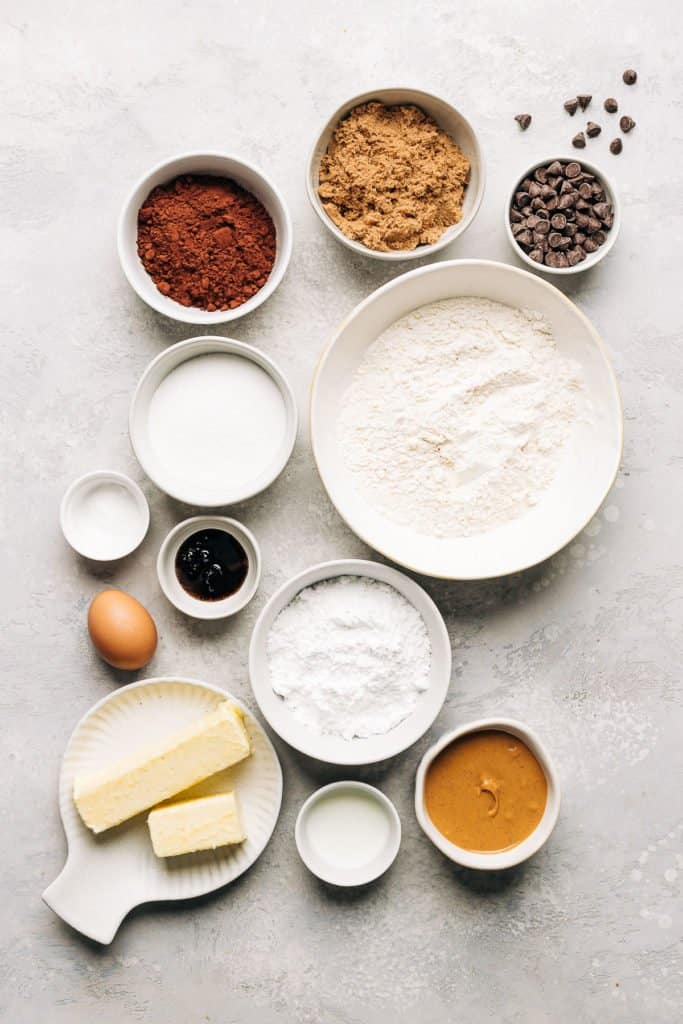 ingredients for peanut butter stuffed chocolate cookies