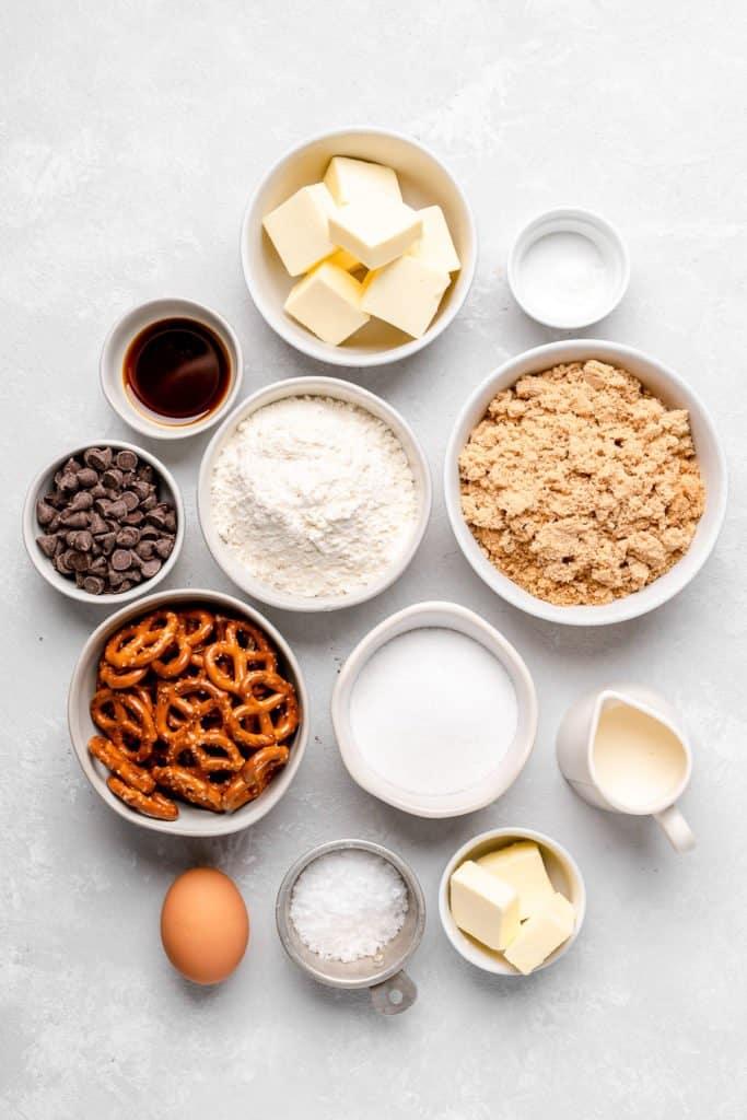 ingredients for salted caramel pretzel blondies