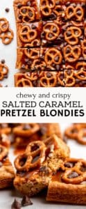 Pinterest pin for salted caramel blondie recipe.
