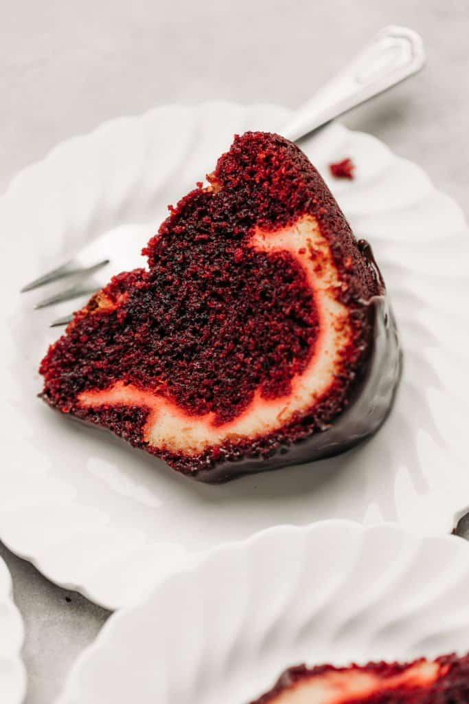 slice of Red Velvet Cream Cheese Bundt Cake on a plate