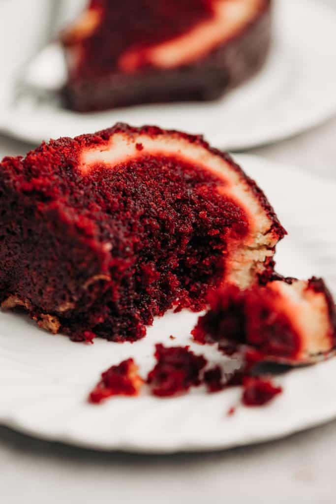 Red Velvet Cream Cheese Bundt Cake on a plate