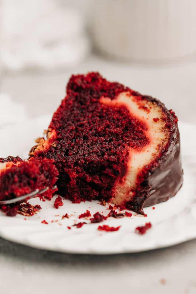 super moist Red Velvet Cream Cheese Bundt Cake on a plate