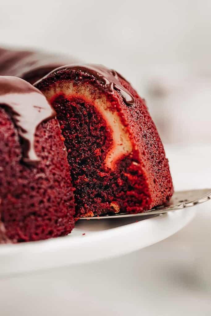 slice of Red Velvet Cream Cheese Bundt Cake