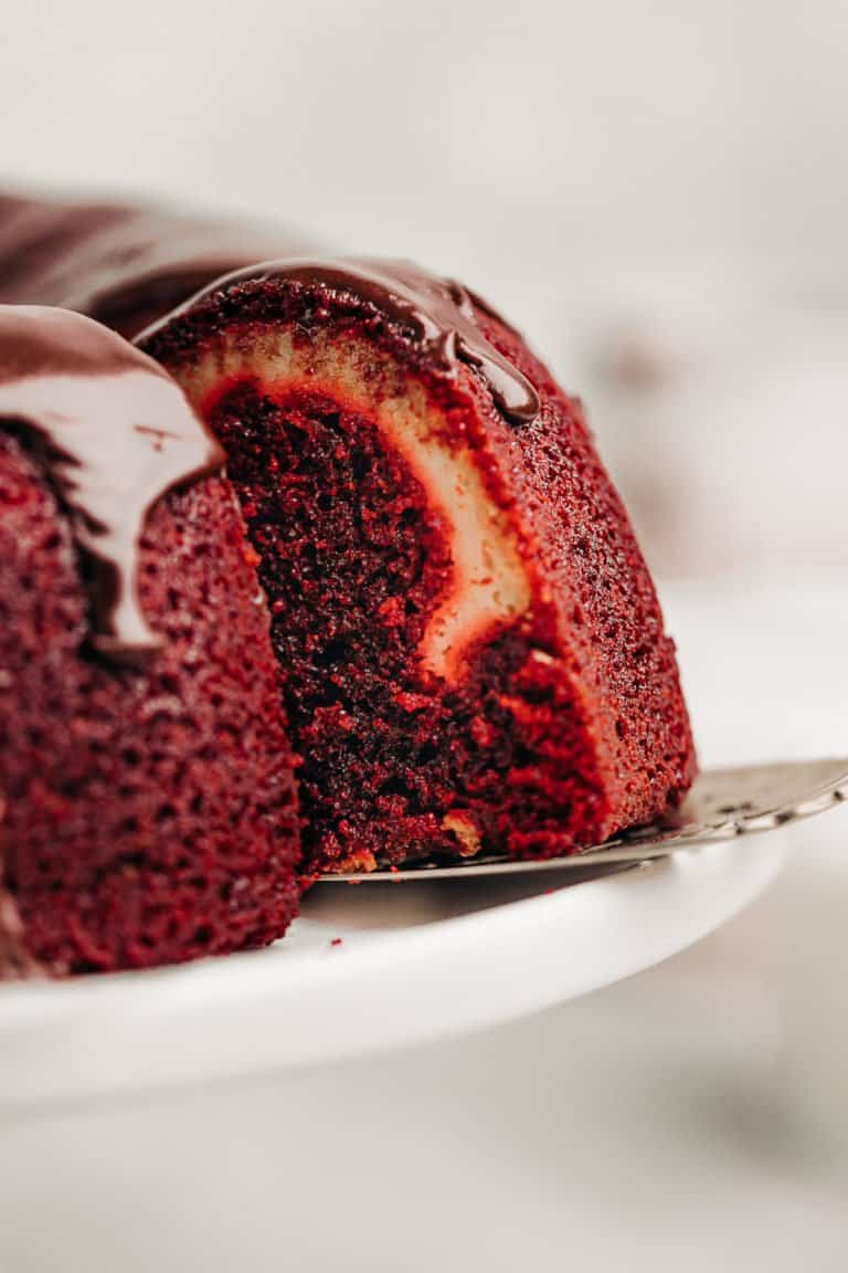 slice of Red Velvet Cream Cheese Bundt Cake