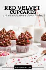 Pin for red velvet cupcake recipe.