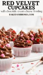 Red velvet cupcake recipe pin.