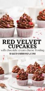 Red velvet cupcake recipe long pin for pinterest.