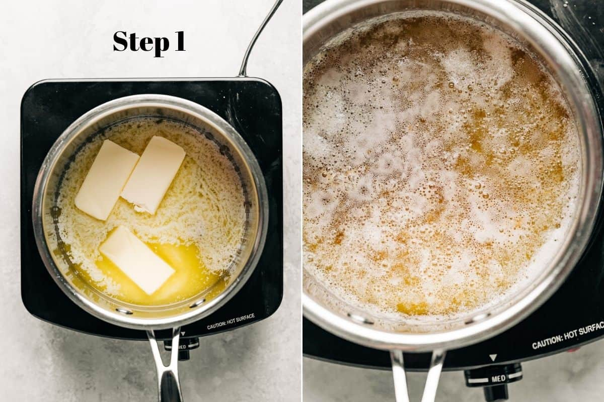 butter being melted in a saucepan over a burner and browned butter in a saucepan.