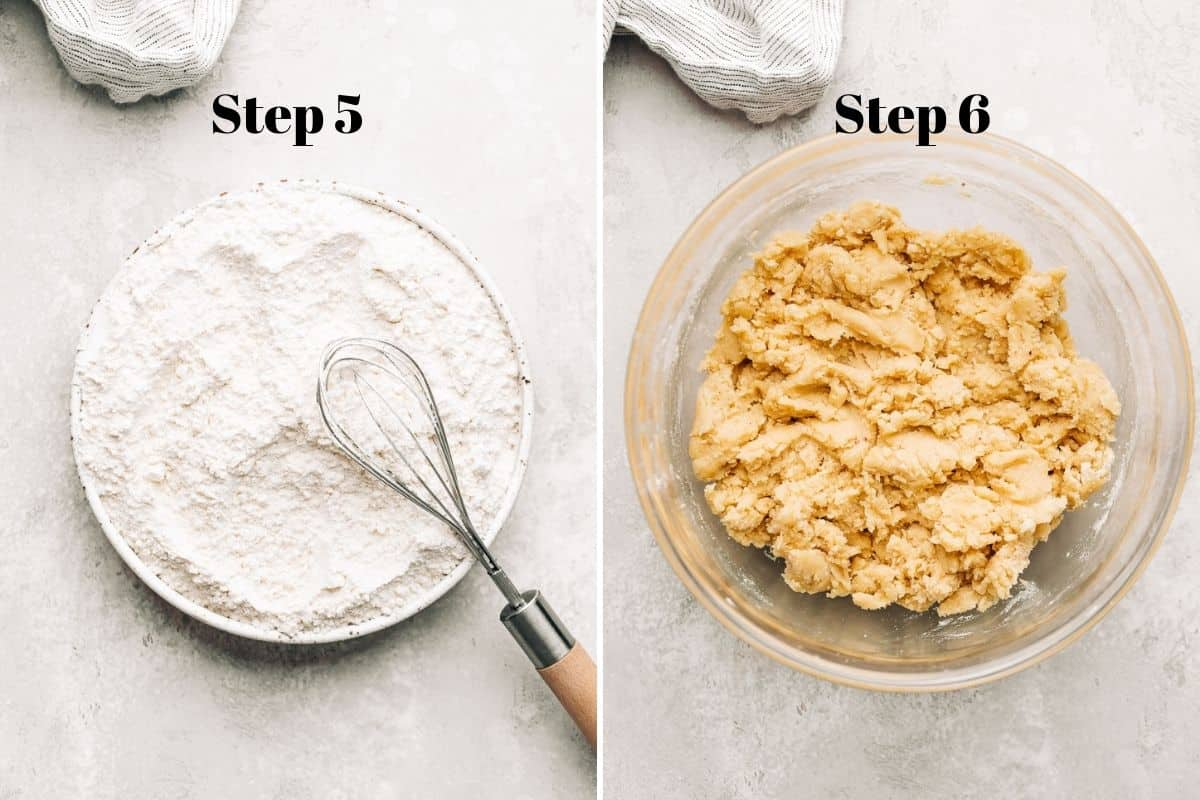 flour in a plate with a whisk and cookie dough in a glass mixing bowl.