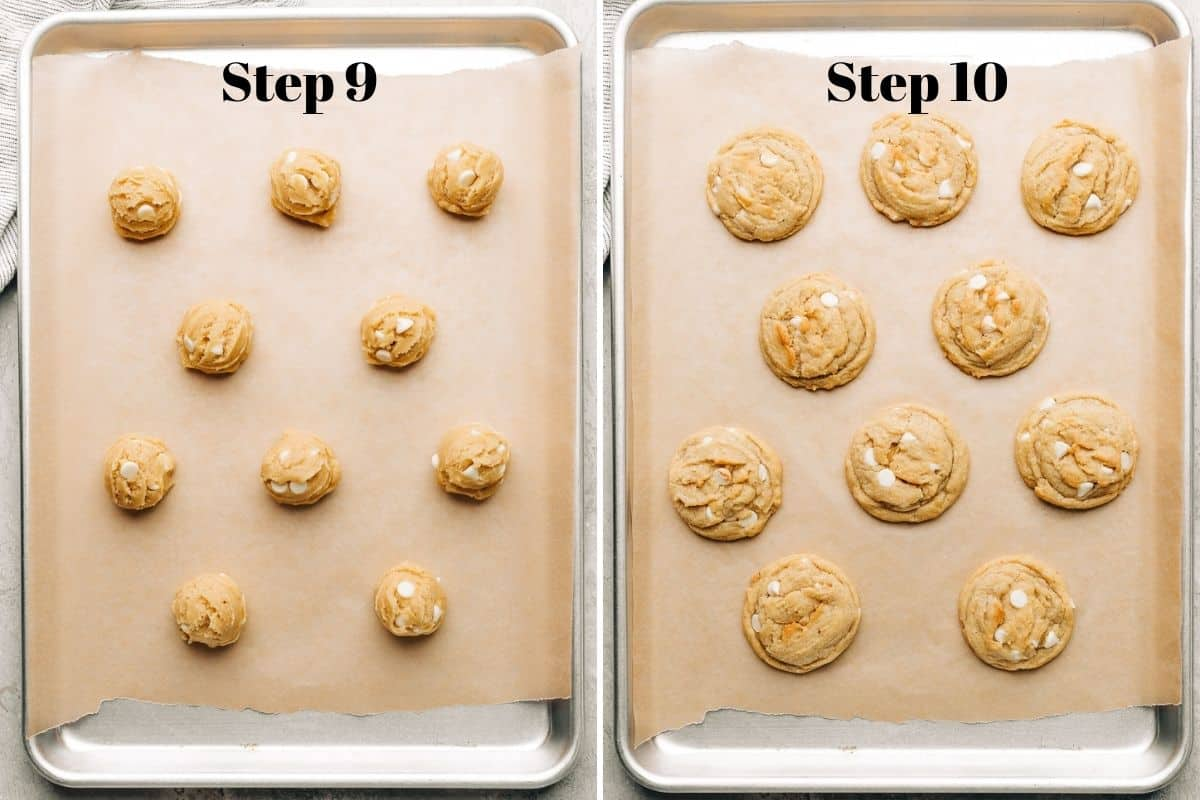 banana white chocolate chip cookie dough on a parchment lined baking sheet and baked cookies on a baking sheet.