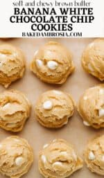 brown butter banana white chocolate chip cookie recipe pin.