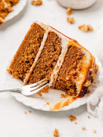 slice of carrot cake on a plate.