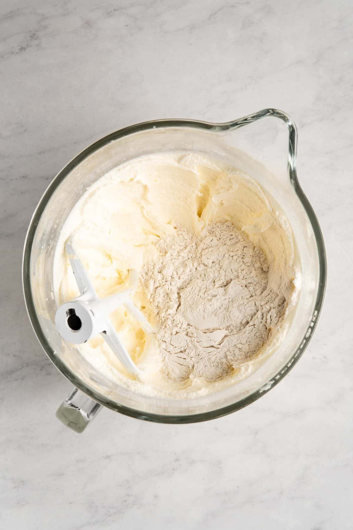 Creamed butter and sugar with flour.