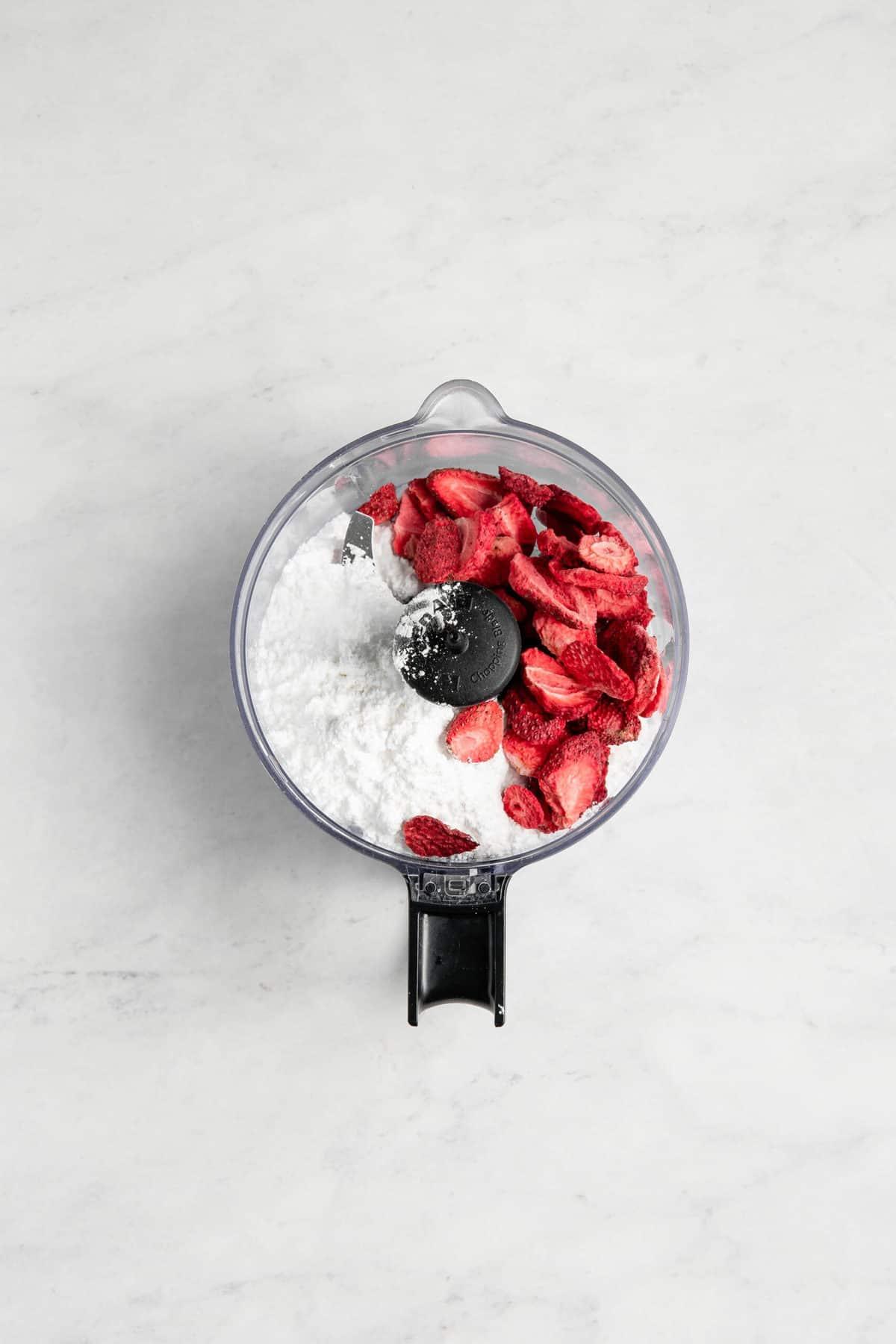 Freeze Dried Strawberries in food processor.