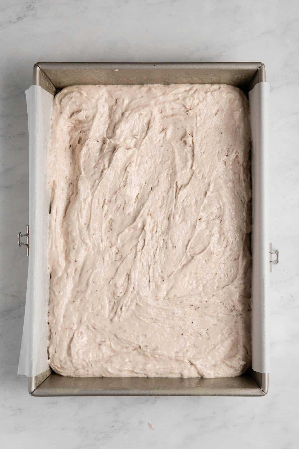 Fresh Strawberry Sheet Cake in pan.