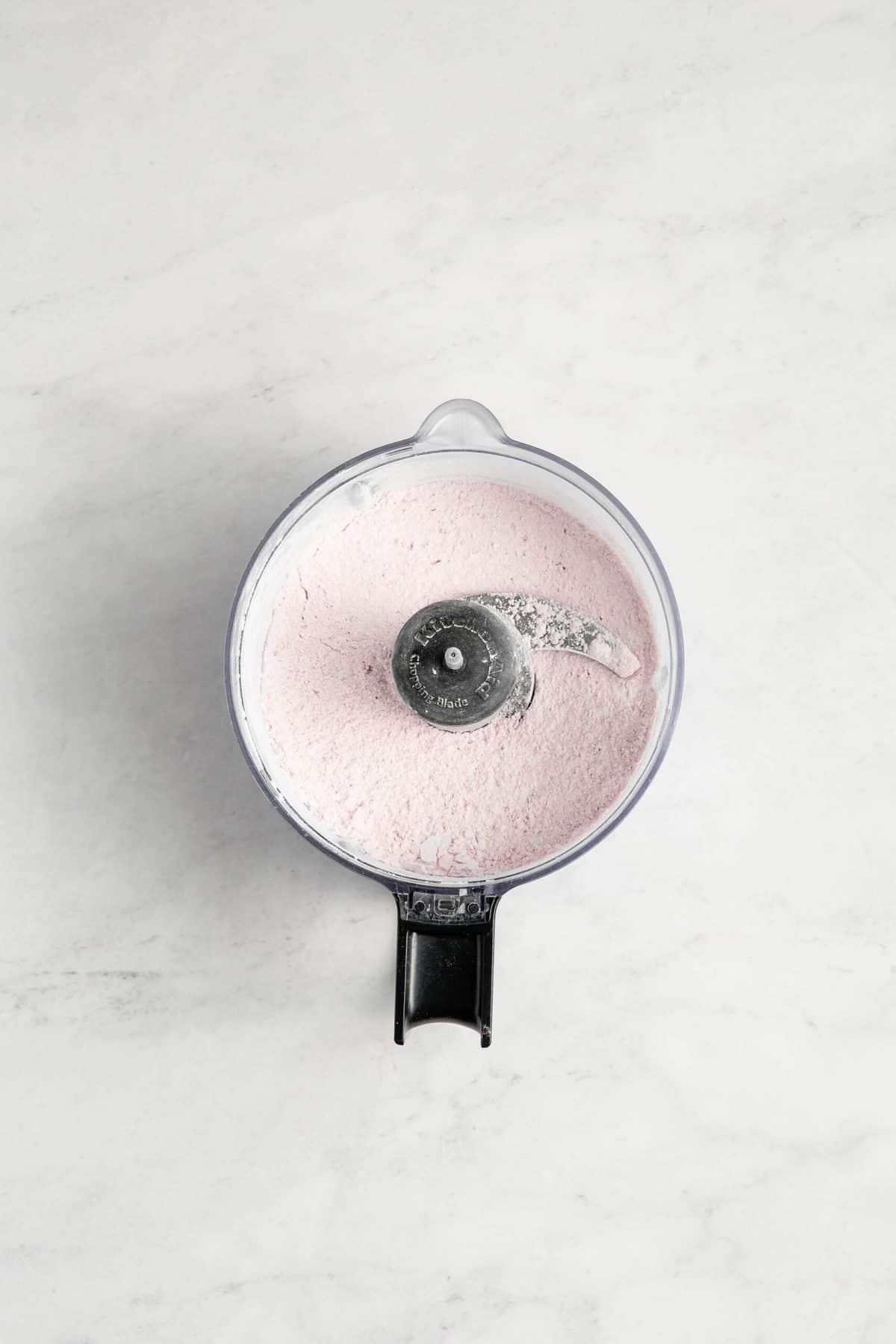 Strawbery Powdered Sugar in a food processor.