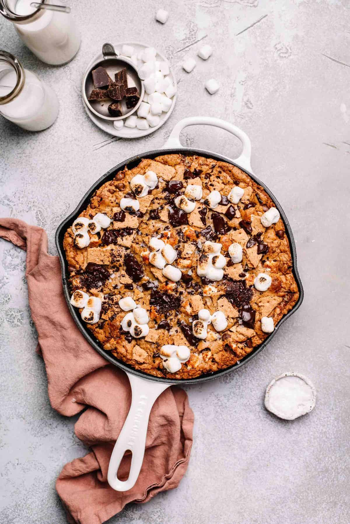 S'mores skillet cookie.